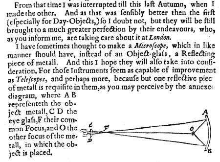 Février 1671. Dans son long article expliquant sa nouvelle théorie « de la lumière et des couleurs », Isaac Newton explique, schéma à l'appui, comment on peut utiliser un miroir réfléchissant concave (« a reflecting piece of metall ») à la place d'une lentille (Object-glass) pour réaliser un télescope ou, comme sur ce dessin, un microscope, avec l'objet à étudier en O et l'oculaire (« eye glass ») en CD. © The Royal Society