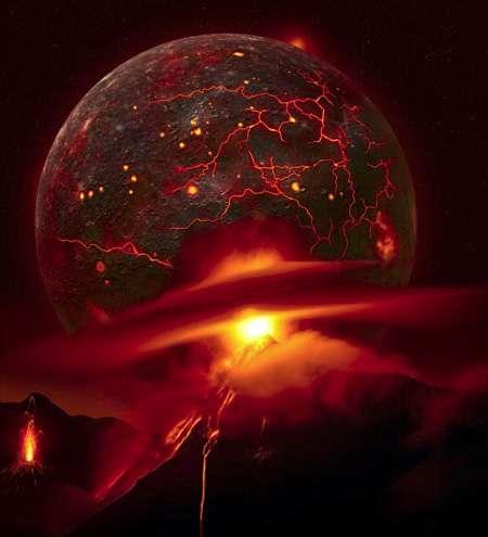 L' « apport tardif » (Late Veneer en anglais) fait référence à la fin de l'accrétion de matière astéroïdes ou comètes vers les planètes terrestres. Fer et nickel ont coulé vers le noyau, quittant le manteau, qui s'est donc appauvri en éléments sidérophiles, notamment les éléments du groupe du platine. Pourtant, les abondances modernes de ces éléments dans le manteau terrestre dépassent largement le niveau attendu. Il est donc supposé que 0,5 à 1,5 % de matière chondritique ou cométaire est arrivé sur Terre durant cet apport tardif, après la formation du noyau. © Astronomical Illustrations and Space Art, Fahad Sulehria