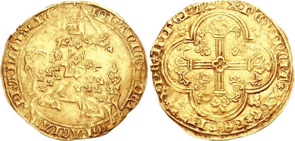 """Ecu en or """"Franc à cheval"""" du roi Jean II le Bon (1350-1364) ; photo CNG. © Wikimedia Commons, domaine public."""