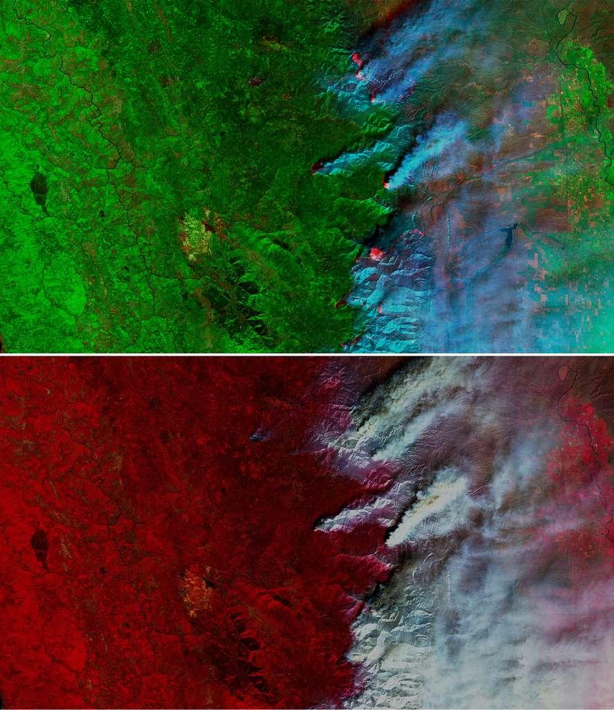 Les incendies au nord de la Californie vus par le satellite Sentinel-2 le 20 août 2020 dans différentes longueurs d'onde. En haut, avec la bande SWIR mettant en évidence les feux actifs et facilitant l'analyse des images malgré la fumée. En bas, avec la bande proche infrarouge permettant de délimiter les zones brûlées. © ESA, Copernicus, Commission européenne