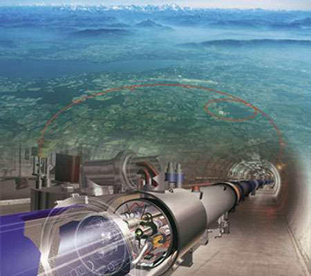 Vue d'artiste de ce que sera le collisionneur LHC (en cours d'installation au CERN dans le tunnel du LEP) superposée à une photo aérienne de la région où l'on a tracé le périmètre de l'accélérateur. Illustre les perspectives futures évoquées en fin de dossier