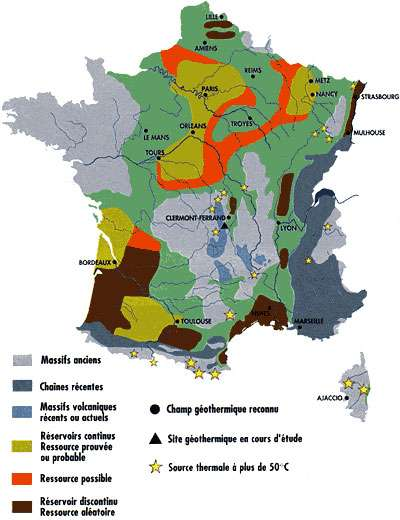 Les ressources géothermiques en France. © Ademe/BRGM