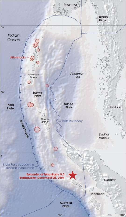 Carte des épicentres des séismes