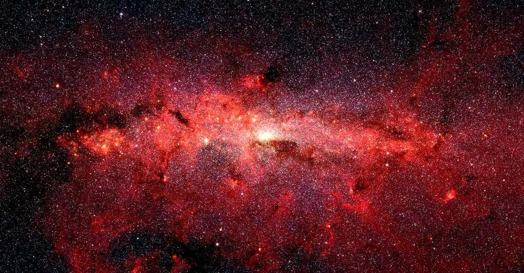 Cœur de la voie lactée vu en infrarouge par le télescope spatial Spitzer de la Nasa. © Nasa/JPL-Caltech/S. Stolovy (SSC/Caltech)