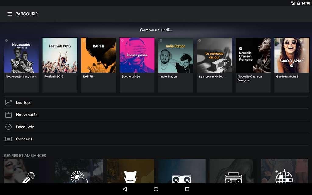 Spotify offre une interface claire et moderne et un catalogue international riche © Spotify AB