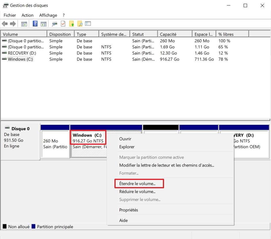 Faites un clic droit sur la partition dont vous souhaitez augmenter la taille, puis choisissez « Étendre le volume ». © Microsoft