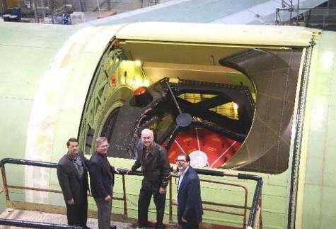 Le logement du télescope de 2,5 mètres de diamètre intégré à bord de SOFIA (Crédits : NASA/DLR)