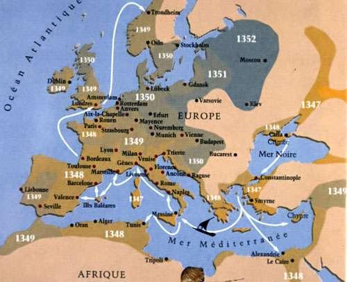 Carte de la peste du XIVè siècle