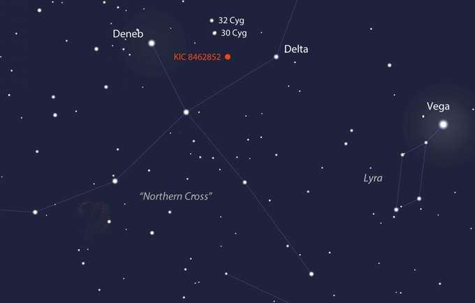 Position de « la plus mystérieuse étoile de la Galaxie », KIC 8462852 alias « étoile de Tabby », dans la constellation du Cygne. Distante d'environ 1.500 années-lumière, elle est invisible à l'œil nu. Ses baisses de luminosité déroutent les astronomes qui ne savent pas encore interpréter le phénomène. © Stellaruim