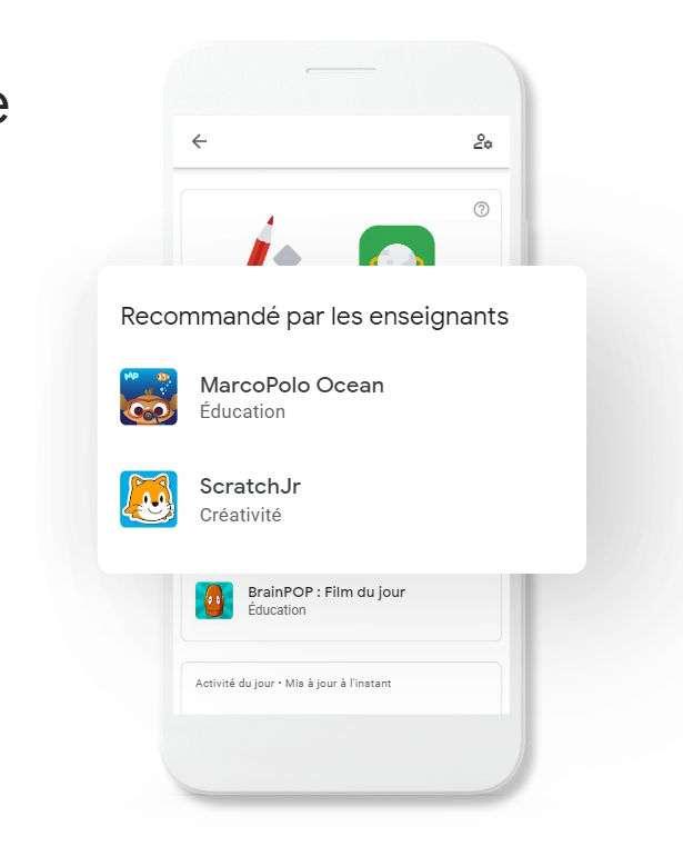 Family Link affiche clairement les applications conseillées par un professeur. © Google