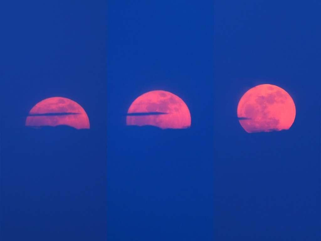 Le précédent lever de Pleine Lune (le 6 avril dernier) photographié en trois temps. © Jean-Baptiste Feldmann