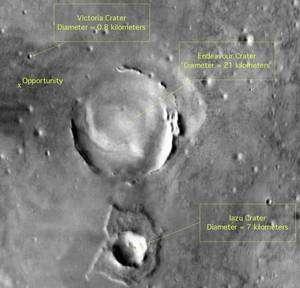 Sur cette image réalisée par l'orbiteur Mars Odyssey, on observe une petite partie du bassin Meridiani Planum où se trouve Opportunity. Parti du cratère Victoria en septembre 2008 après l'avoir exploré pendant deux ans, le robot martien est en route pour Endeavour. Crédit Nasa/JPL-Caltech/Cornell University
