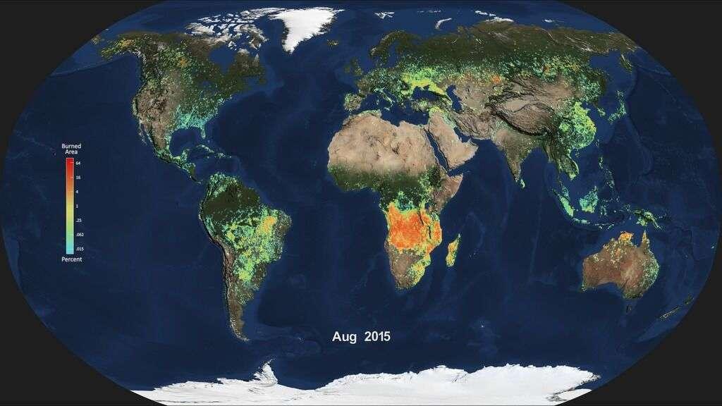 Territoires touchés par des incendies de forêt en août 2015. La couleur orange indique les régions où ils sont plus nombreux. © Nasa