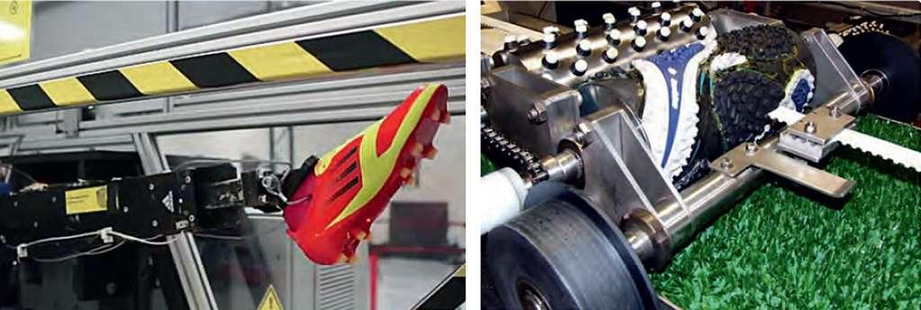 Machine pour l'étude de l'interaction chaussure-ballon (à gauche). La chaussure est montée sur une jambe mécanique. Interaction chaussure-terrain (à droite). © Belin