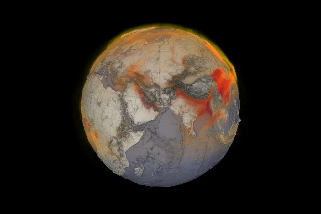 Les concentrations en méthane enregistrées le 26 janvier 2018. En rouge, les concentrations de l'ordre de 2.100 parties par milliards (ppb) et plus. © Nasa, Scientific Visualization Studio