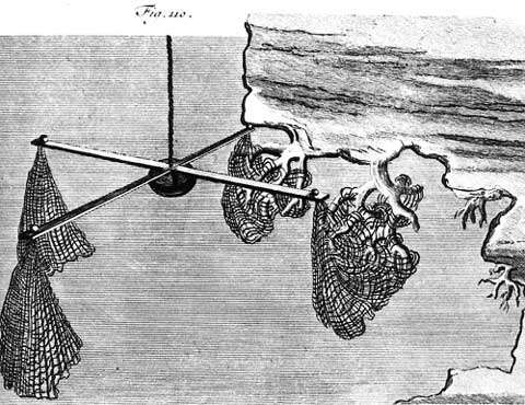 Figure 13 : une croix de saint André en action sous une roche. © Illustration de L. F. Marsigli (1725), reproduction et utilisation interdites