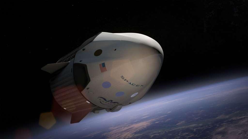 Dragon V2, la version habitée de la capsule de transport de fret Dragon de SpaceX. Avec la capsule CST-100 de Boeing, elle fera partie des deux premiers véhicules privés de transport spatial de passagers. © SpaceX
