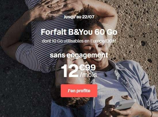Forfait 100 Go à 16,99 € par mois chez B&You ! ©B&You