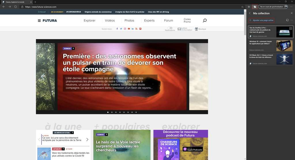 Nouveau Microsoft Edge : enregistrement de pages au sein de « Collections ». © Microsoft