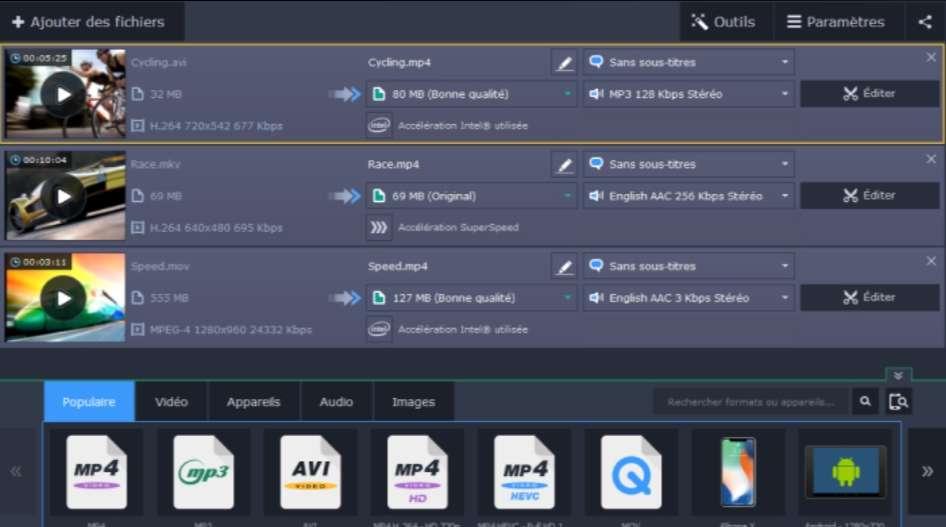 S'il est payant, le logiciel Movavi Video Converter a l'atout de la simplicité avec une interface conçue pour parvenir facilement à ce que l'on souhaite. © Movavi