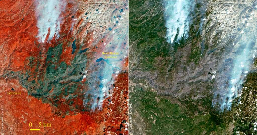 Cartes, dans le proche infrarouge (à gauche) et en couleurs naturelles (à droite), de l'étendue de l'incendie de Yosemite en Californie, réalisées par le satellite Spot-6 d'Astrium (situé à 694 km d'altitude). © Astrium Services, 2013