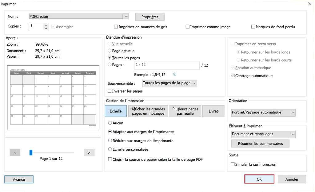 La fenêtre d'impression permet de choisir les pages à imprimer. © Foxit Software Incorporated.