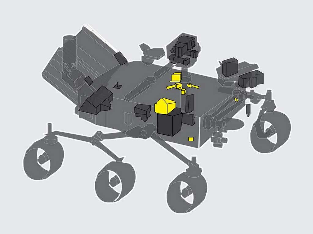 En jaune, emplacement de l'instrument Meda sur le rover Perseverance. © Nasa, JPL-Caltech