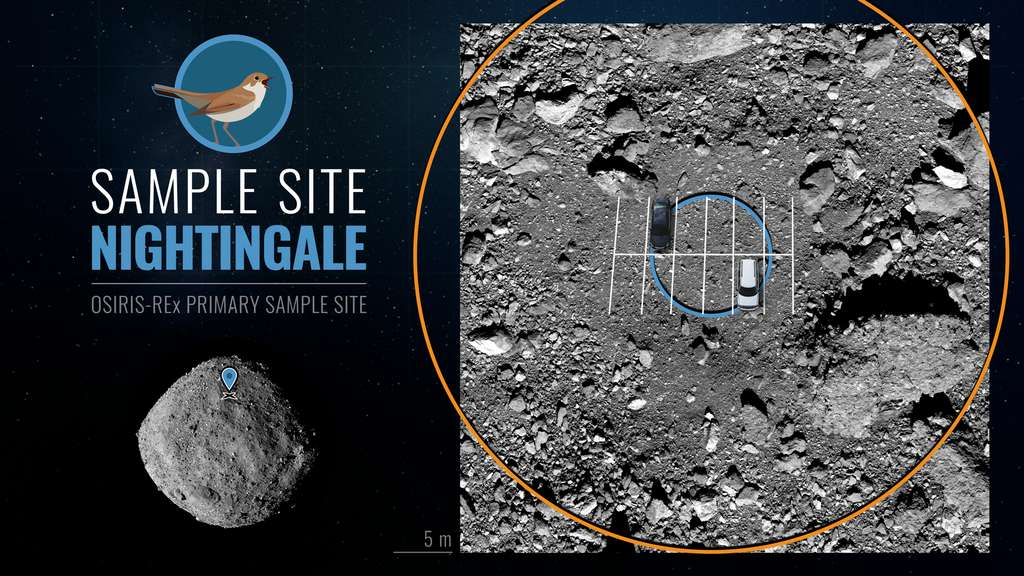Une autre perspective sur le site d'échantillonnage Nightingale dans le cercle au centre. © NASA/Goddard/University of Arizona