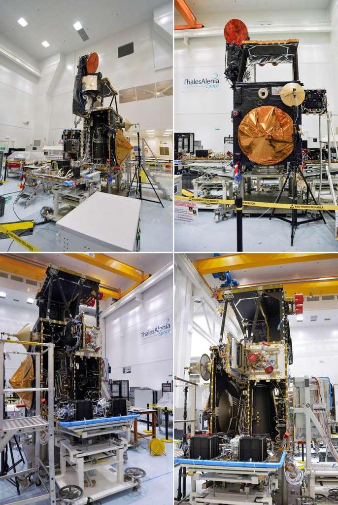 Sentinel 3 en cours d'intégration. Remarquez l'emplacement, actuellement vide (le trou en haut du satellite), où sera logé l'instrument à cinq caméras OCLI. © Rémy Decourt