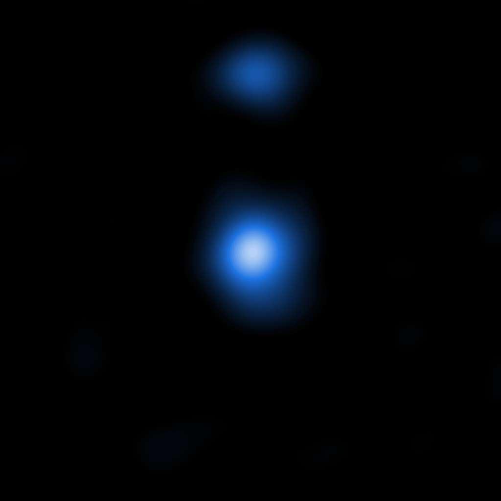 Le profil du nuage de gaz OBJ29323 détecté par Chandra dans le rayonnement X correspond à celui d'une « graine de trou noir supermassif », comme cela est prévu par les modèles. © Nasa, CXC, Scuola Normale Superiore, Pacucci