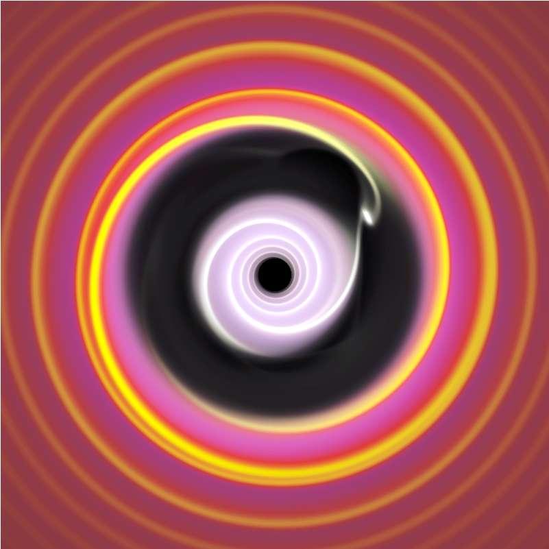 On voit ici une simulation de la formation d'une planète géante dans un disque protoplanétaire autour d'une étoile centrale. Le vide laissé dans le disque est dû à l'influence de planètes en formation. Une telle structure est attendue pour des trous noirs de masses intermédiaires naissant dans le disque de gaz entourant un trou noir supermassif. © P. Armitage, University of Colorado