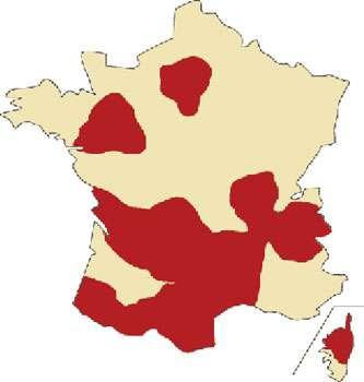 Carte de France de la répartition des châtaigniers.