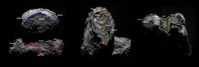 Observé pour la première fois ces dernières semaines, l'hémisphère sud de Tchouri se dévoile enfin. Quatre nouvelles régions aux caractéristiques géologiques différentes ont été ajoutées. © Esa, Rosetta, MPS for OSIRIS Team MPS, UPD, LAM, IAA, SSO, INTA, UPM, DASP, IDA