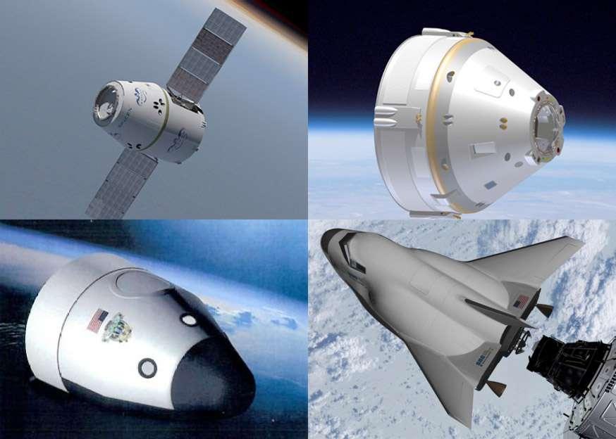 Les quatre projets retenus par la Nasa dans le cadre de CCDev avec Dragon de SpaceX, le CST-100 de Boeing, le New Shepard à décollage et atterrissage verticaux de Blue Origin et l'engin ailé de Sierra Nevada (de haut en bas et de gauche à droite). © DR