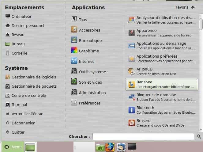 Le menu de Linux Mint 14 avec l'interface Mate propose un outil de recherche de fichiers et un système de classement par rubriques assez clair. © Sylvain Biget, Futura-Sciences