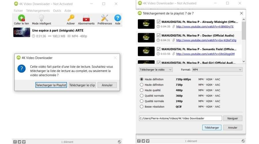 Fenêtre principale, options de téléchargement d'une playlist © 4K Video Downloader