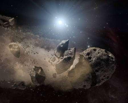 Cliquez pour agrandir. Une vue d'artiste d'un astéroïde brisé par les forces de marée d'une naine blanche. Crédit : Nasa/JPL-Caltech