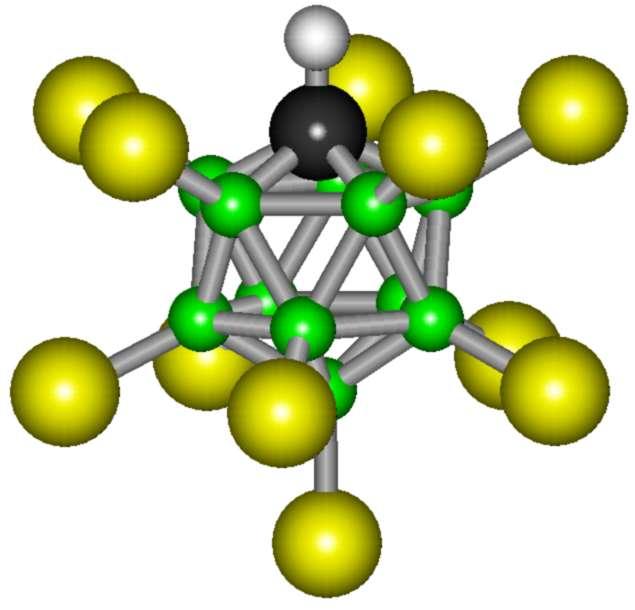 La molécule d'acide carborane H(CHB11Cl11) présente une configuration extrêmement stable, selon un arrangement icosaédrique de onze atomes de bore et un atome de carbone. © Polimerek, Wikipedia