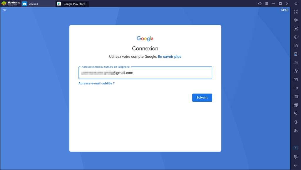 Saisie de l'adresse e-mail ou du numéro du compte Google. © Bluestacks Systems Inc.