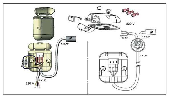 Les raccordements électriques pour la motorisation des volets battants. © Voltec