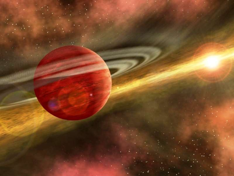 Une vue d'artiste d'une exoplanète gazeuse migrant dans le disque protoplanétaire en direction de son soleil. © Nasa/JPL-Caltech