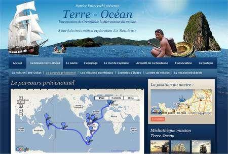 Le parcours prévu pour la mission Terre-Océan. Cliquer sur l'image pour accéder à la page Web. © Mission Terre-Océan