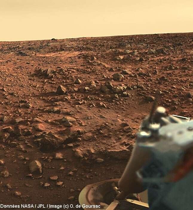 Coucher de soleil sur Mars au site d'atterrissage de Viking 1.