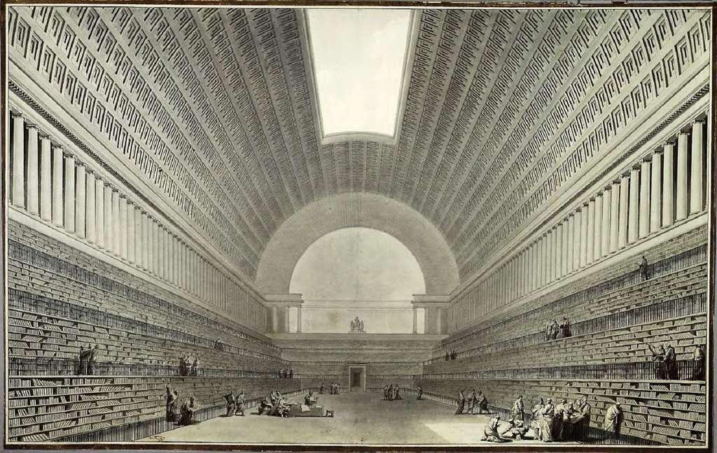 Projet de bibliothèque royale pour Louis XVI, par Étienne-Louis Boullée en 1785. Bibliothèque nationale de France. © Gallica, BnF, domaine public