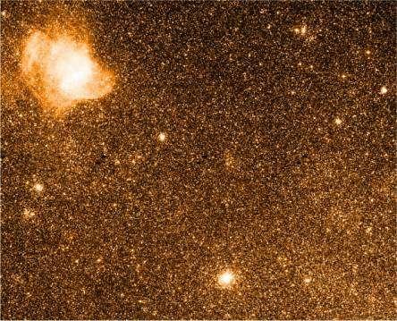Champ observé dans le Petit Nuage de Magellan. L'amas NGC330 est visible en bas. Sur cette image, le nord est en haut et l'ouest à droite. Crédit Observatoire de Paris.