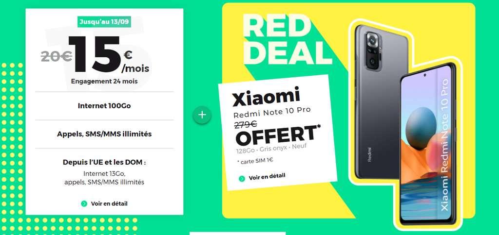 Un Xiaomi Redmi Note 10 Pro offert avec le RED DEAL © RED By SFR