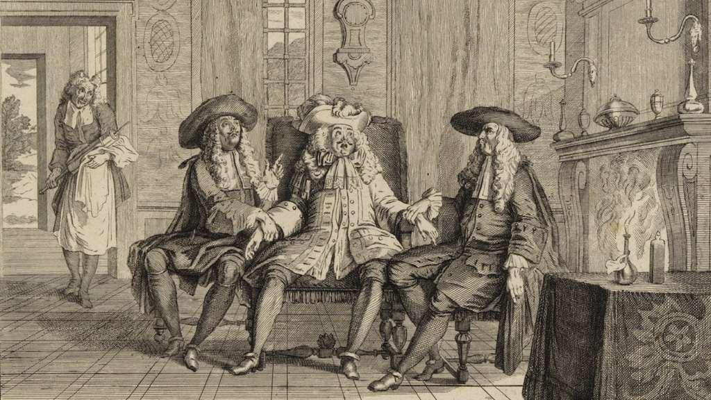 Estampe anonyme réalisée pour la pièce de Molière, « Le malade imaginaire », XVIIe siècle. Bibliothèque nationale de France. © gallica.bnf.fr/BnF