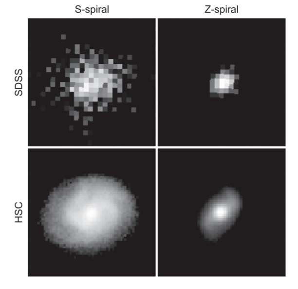 Comparaison des images de la Sloan Digital Sky Survey (SDSS) et de l'Hyper Suprime-Cam (HSC) du télescope Subaru. © HSC-SSP, SDSS