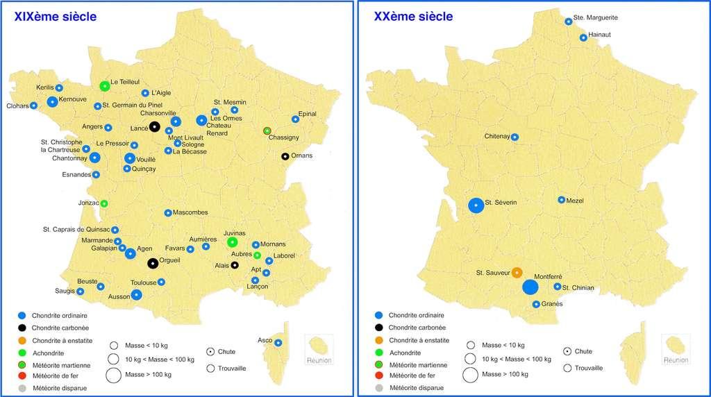 Comparaison des météorites découvertes en France aux XIXe et XXe siècles. © MNHN