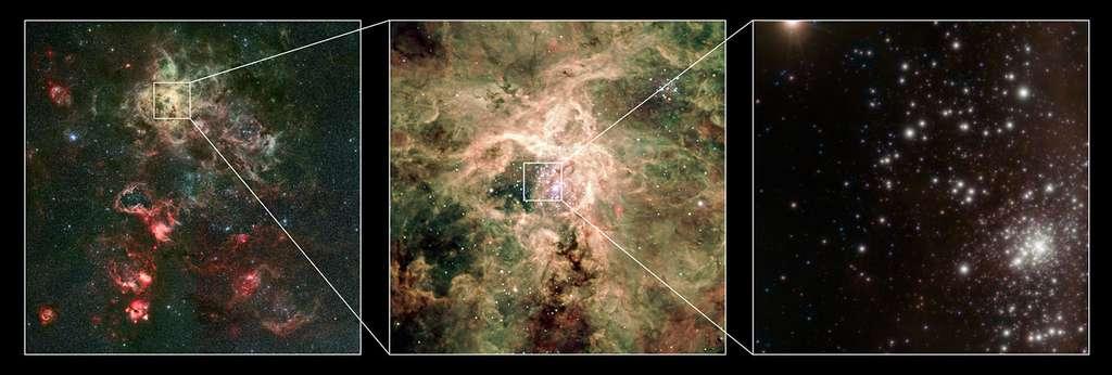 Un zoom sur la nébuleuse de la Tarentule dans le visible aboutissant à l'amas RMC 136a vue dans l'infra-rouge proche, ici en fausses couleurs. Crédit : ESO/P. Crowther/C.J. Evans.
